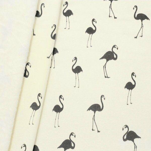 "3,20 Meter Sweatshirt Baumwollstoff ""Flamingos 2"" Farbe Creme-Weiss"