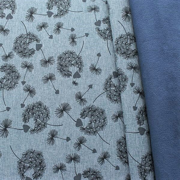 Softshell Fleece Stoff Pusteblumen Melange Blau