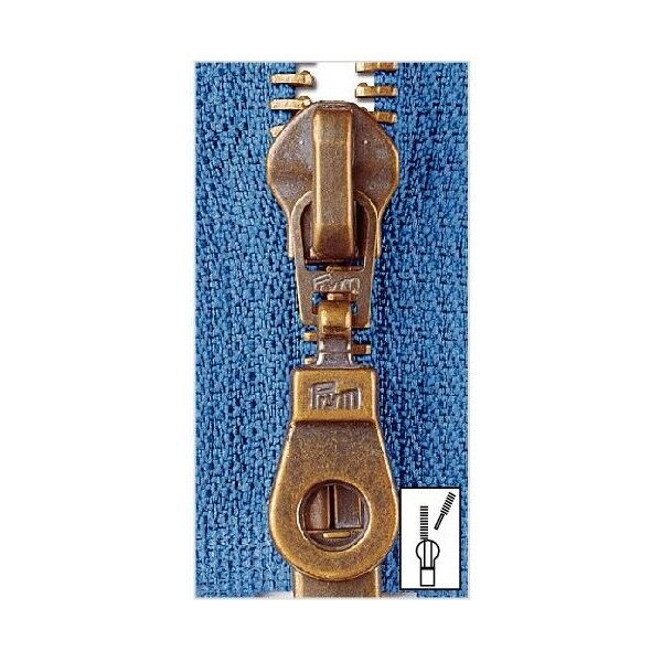 Metall Reißverschluss M5 Typ 10 teilbar 30 cm Altmessing - Farbe frei wählbar