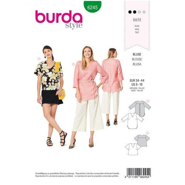 Bluse – Tunika – V-Ausschnitt – rückwärtigem Knopfverschluss, Gr. 34 - 44, Schnittmuster Burda 6245
