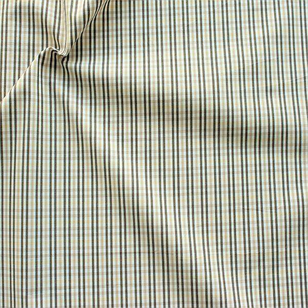 Baumwollstoff Hemden Qualität Karo fein Braun-Beige-Weiss