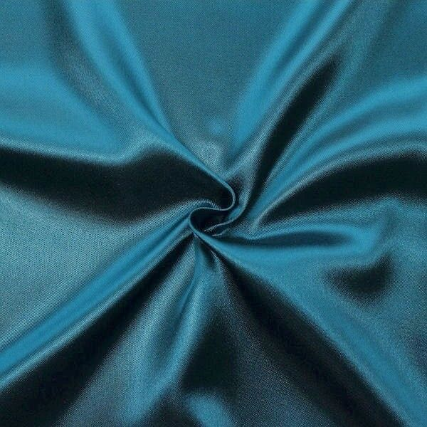Satin Stoff Farbe Petrol-Blau