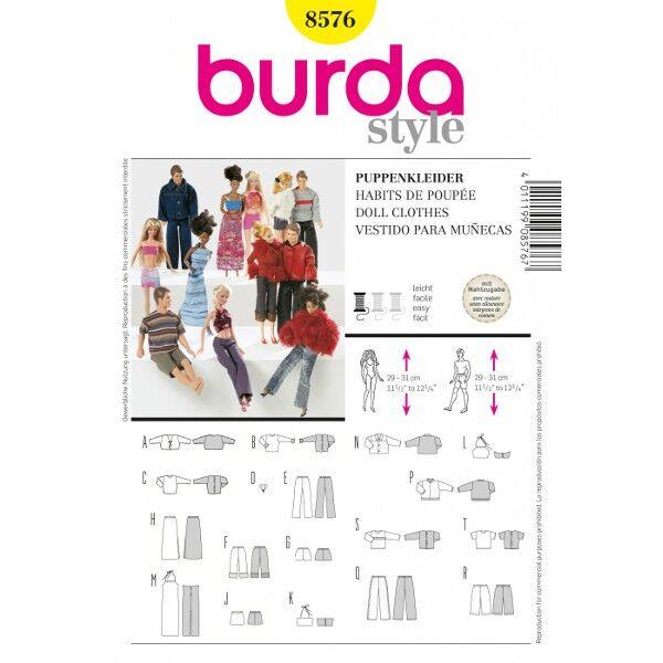 Burda 8576 Schnittmuster für Puppenkleider für Anziehpuppen