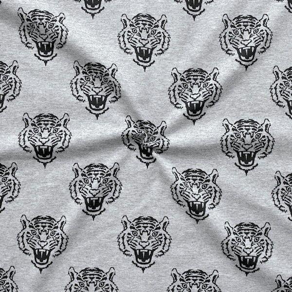 "Baumwoll Stretch Jersey ""Tiger Köpfe"" Farbe Grau meliert"