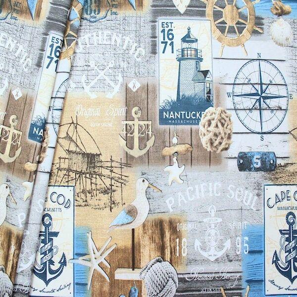 "Dekostoff ""Maritime Romantik 2"" Multicolor"