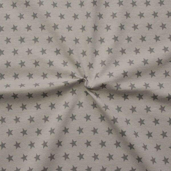 Baumwoll Stretch Jersey Sterne mittel Beige-Taupe