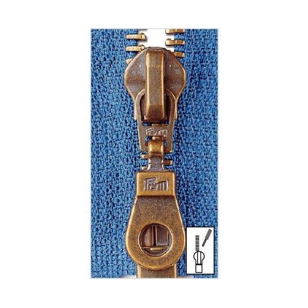 Metall Reißverschluss M5 Typ 10 teilbar 75 cm Altmessing - Farbe frei wählbar