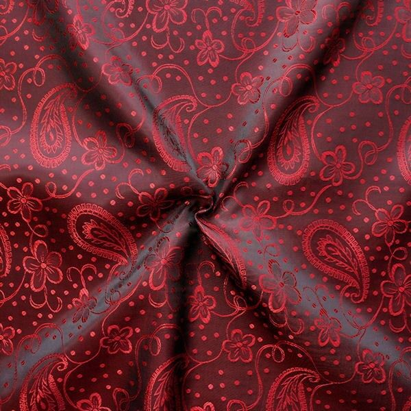 "Futterstoff Jacquard ""Blumen Paisley 3"" Farbe Rot-Weinrot changierend"