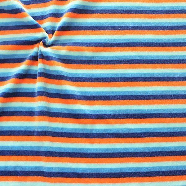 Nicki Baumwollstoff Ringel-Streifen Mix Blau-Orange