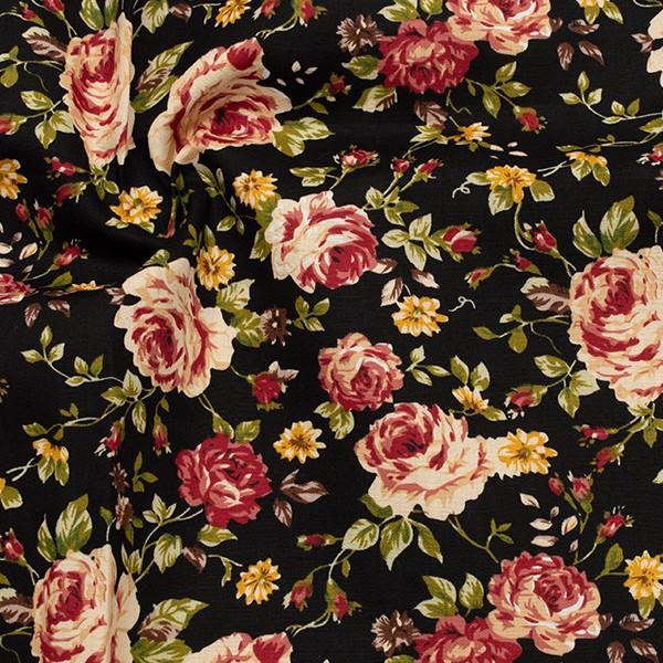 Baumwolle Popeline Rosenblüten Schwarz