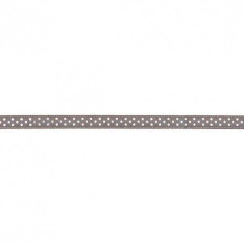 Prym Satinband gepunktet 6mm x 4m (Breite / Länge) grau / weiss