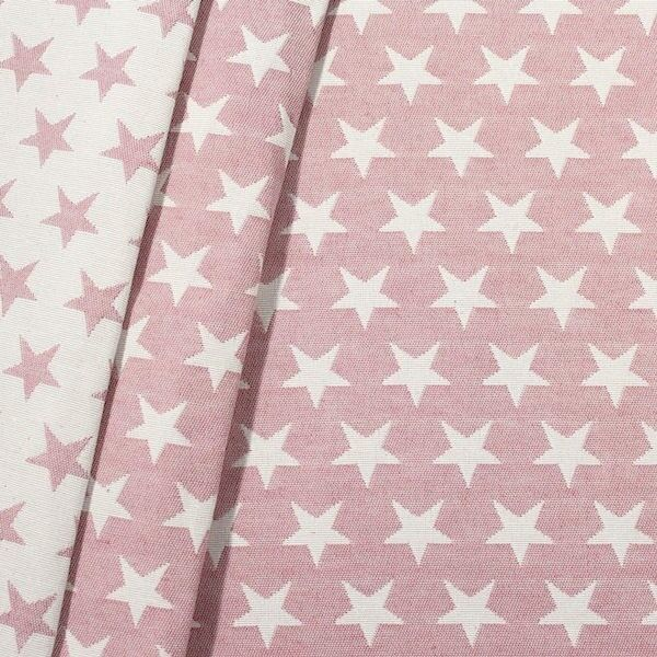 Jacquard Dekostoff Doubleface Stars Rosa-Weiss