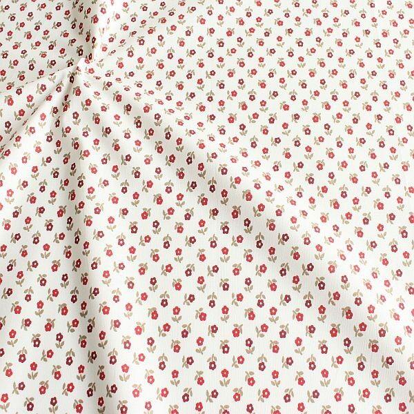 Baumwollstoff Kleine Blümchen Weiss-Rot