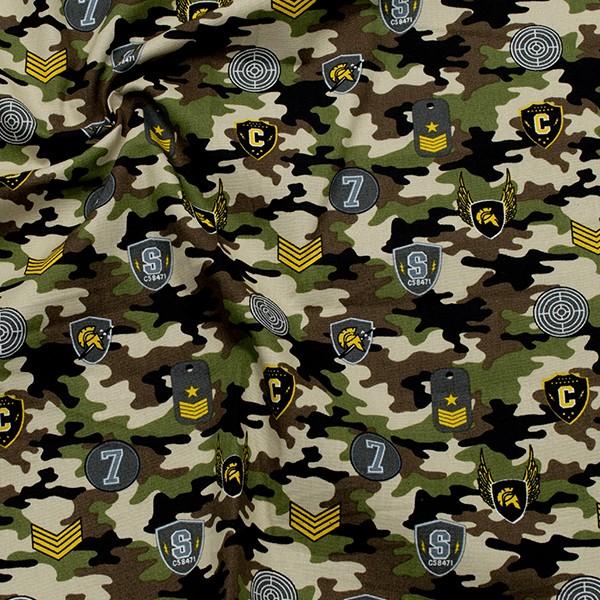100% Baumwolle Popeline Camouflage & Abzeichen Multicolor
