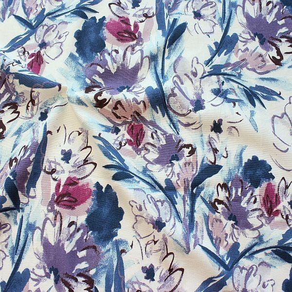 Leinen-Viskose Painted Flowers Lila-Violett
