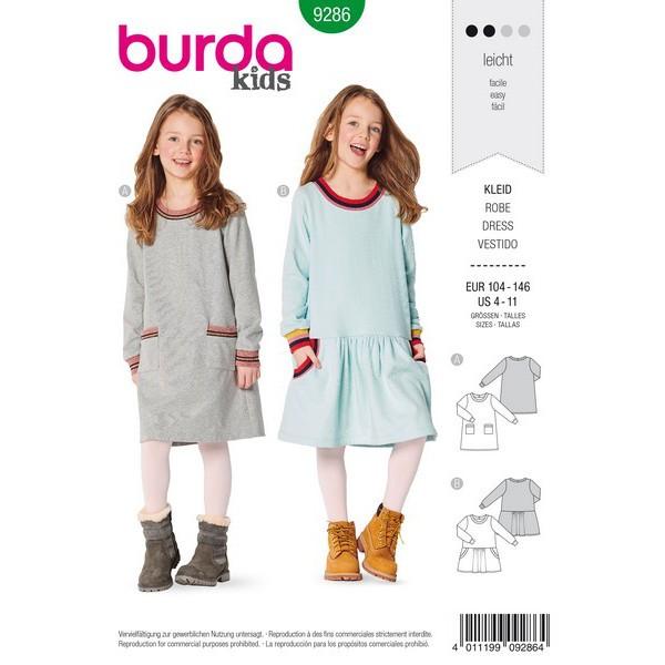 Kleid – Shirtkleid – mit Bündchen, Gr. 104 - 146 Schnittmuster Burda 9286