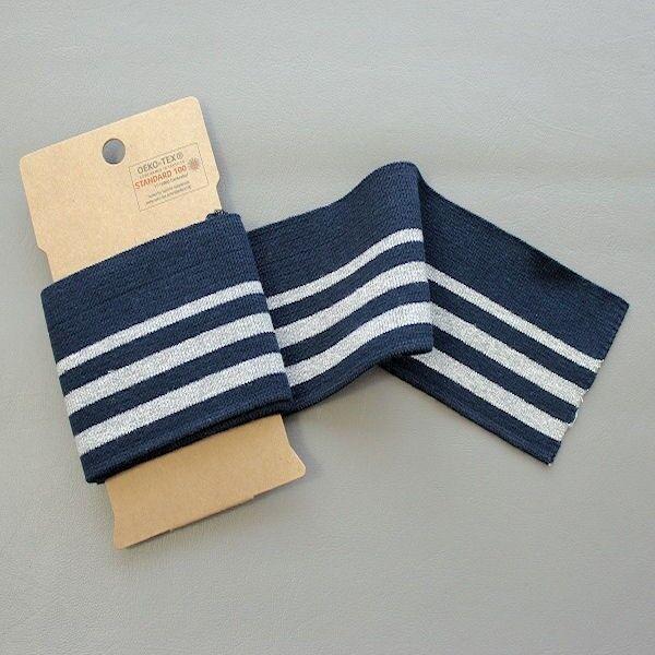 Board Cuff Bündchen College Streifen Lurex Navy-Blau