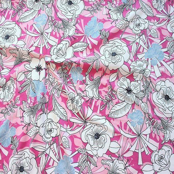 Baumwoll Stretch Jersey Fashion Flower Mix Rosa