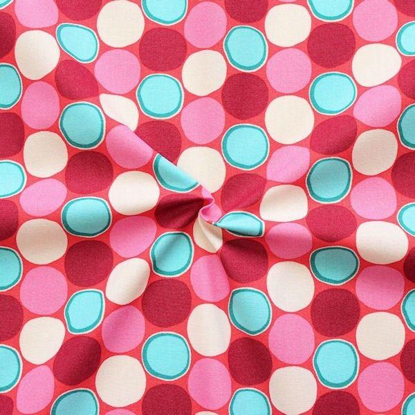 "100% Baumwollstoff ""Retro Kreise"" Farbe Rot-Pink"