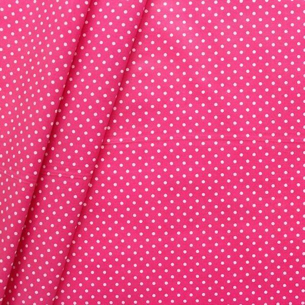 Baumwollstoff beschichtet Punkte klein Pink