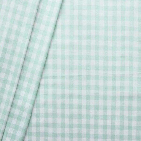 """Baumwollstoff beschichtet """"Vichy Karo groß"""" Farbe Mint-Weiss"""