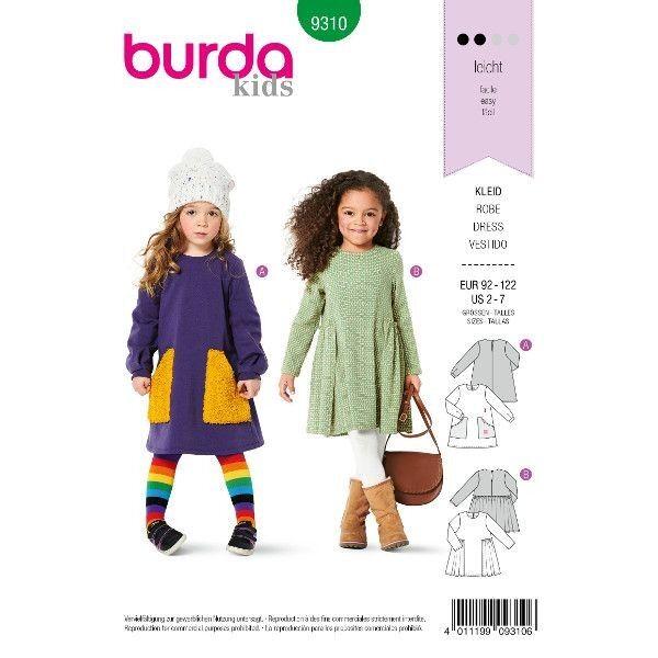 Kleid mit Taschen – Überrock, Gr. 92 - 122, Schnittmuster Burda 9310