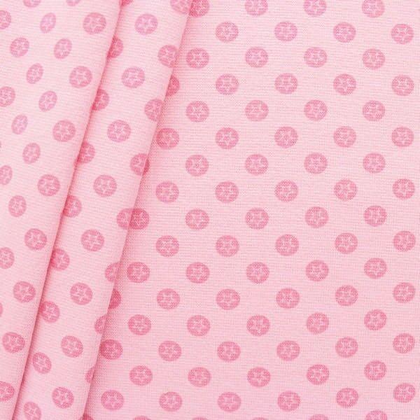 "Baumwoll Bündchenstoff ""Stern im Kreis glatt"" Farbe Rosa"
