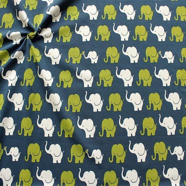Baumwoll Stretch Jersey Elefanten Parade Blau-Grün