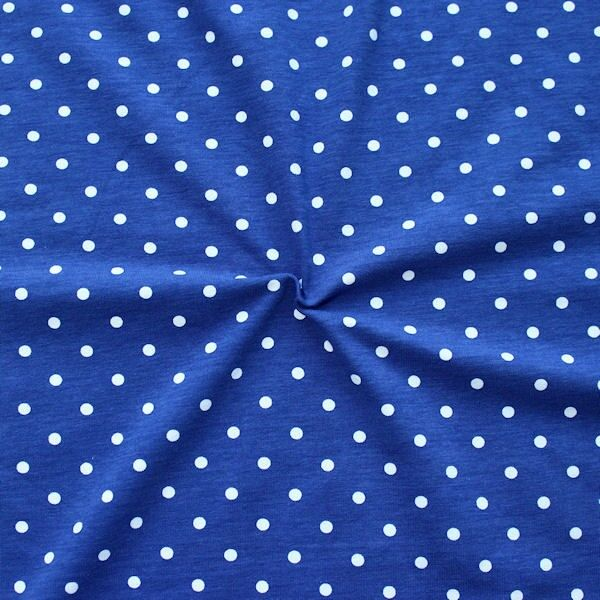 Baumwoll Stretch Jersey Classic Dots Royal-Blau Weiss