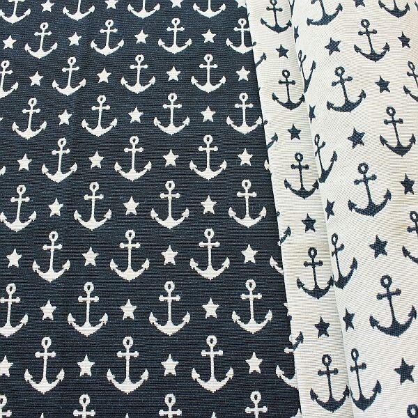 Jacquard Dekostoff Doubleface Anker & Sterne Navy-Blau Ecru