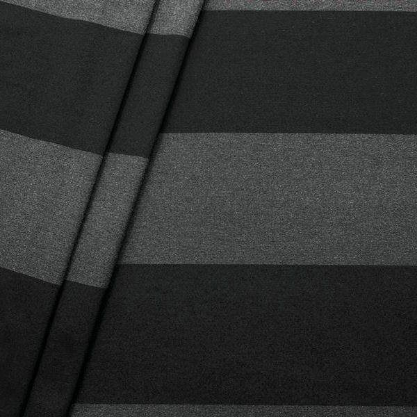 Dekostoff Breite 280cm Blockstreifen quer Schwarz Grau