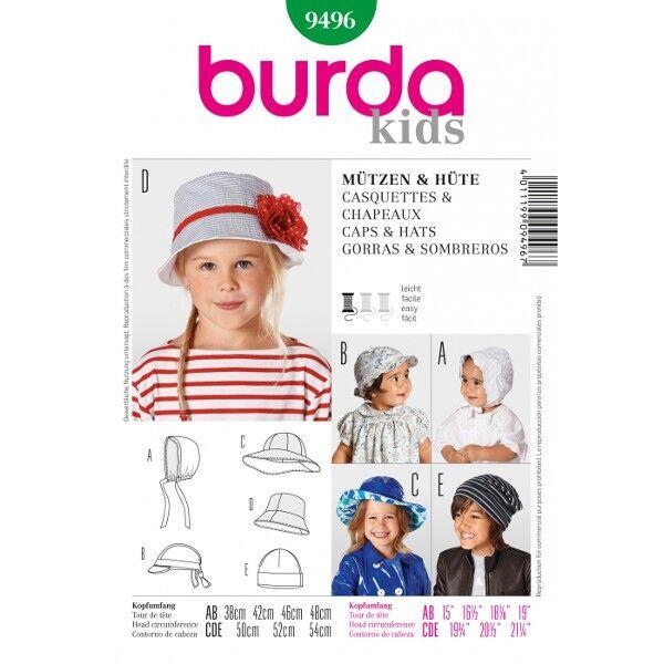 Burda 9496 Schnittmuster für schnell genähte Hauben, Schildmützen, Mützen und Kinderhüte für Sommer und Winter sowie für kleine und große Kinder