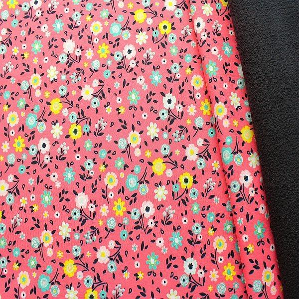 Softshell Fleece Stoff Blümchen Mix Rosa Dunkel-Blau