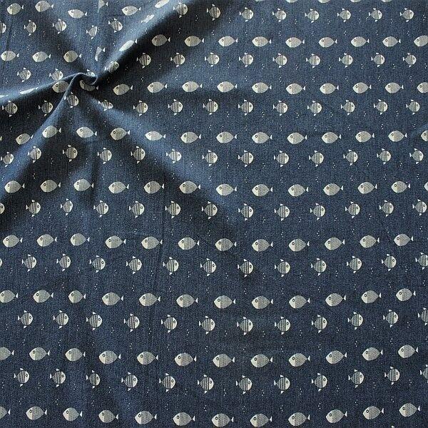 Stretch Denim Jeans Kleine Fische Dunkel-Blau