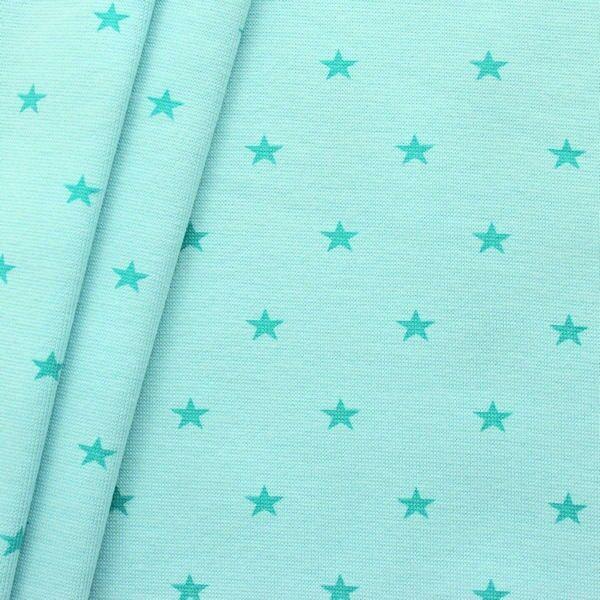 Baumwoll Bündchenstoff Sterne Mittel glatt Mint
