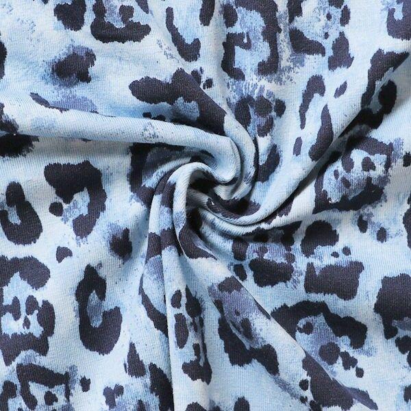 Baumwoll Stretch Jersey Raubtier Print Hell-Blau