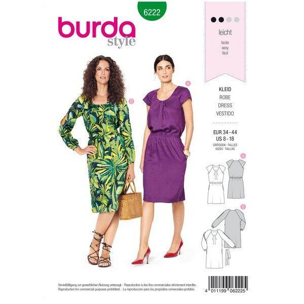 Kleid mit Fältchen am Ausschnitt – Raglanärmel, Gr. 34 - 44, Schnittmuster Burda 6222