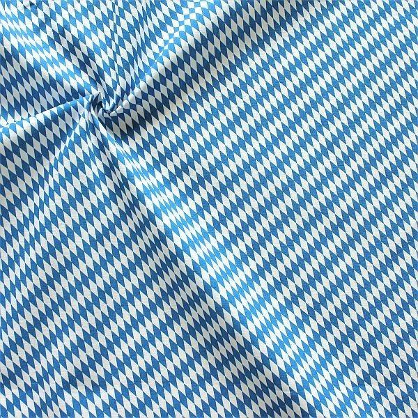 Baumwollstoff Popeline Bayern Raute mini Blau-Weiss