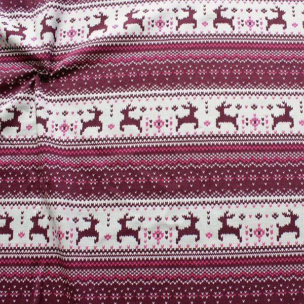 Sweatshirt Baumwollstoff Norweger Strick Optik Bordeaux-Grau