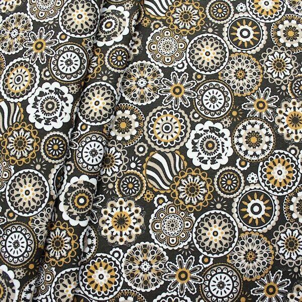 Dekostoff Blumen Mandala Schwarz