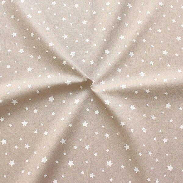 Baumwollstoff Sterne Mix Taupe