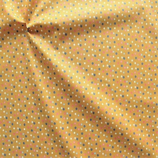 Baumwolle Popeline Konfetti Dots Ocker