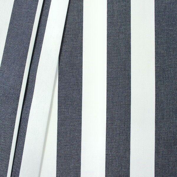 Markisenstoff Outdoorstoff Streifen Dunkel-Blau Weiss