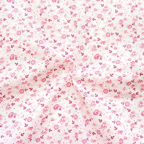 Baumwolle Popeline Millefleurs Weiss-Rosa