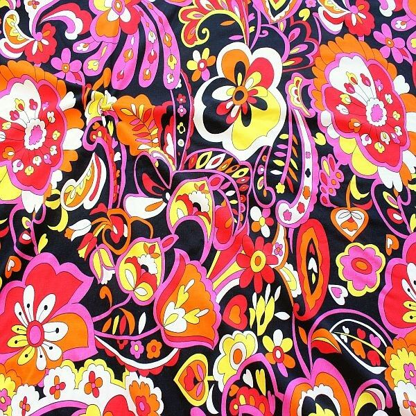 Baumwoll Stretch Jersey Hippie Flowers Schwarz-Multicolor