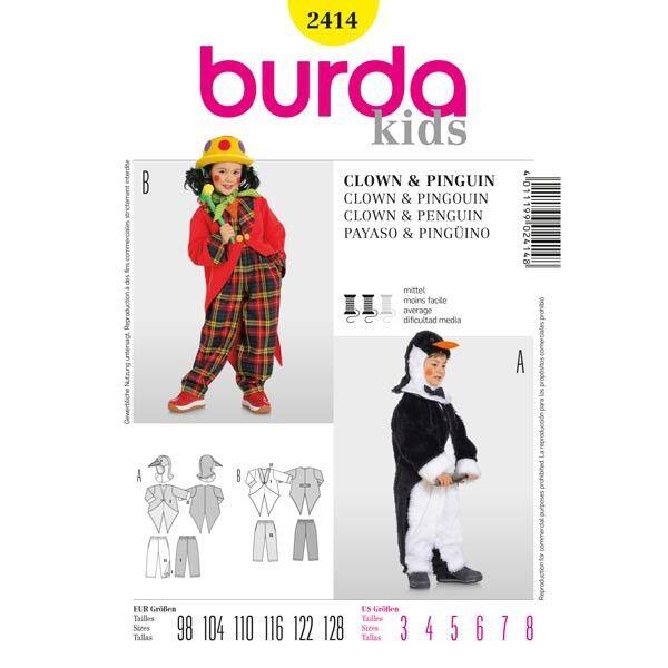Burda 2414 Schnittmuster für Kinderkostüm Pinguin und Clown