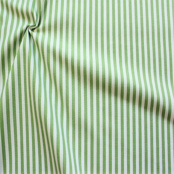 Baumwolle Denim Jeans Stoff Streifen Mittel Grün-Weiss