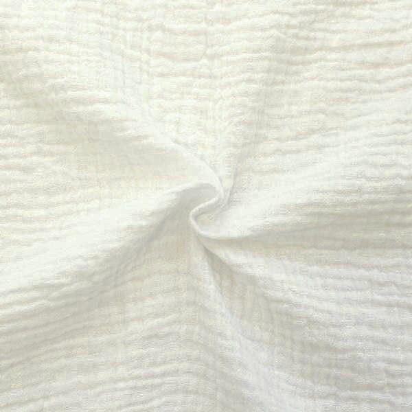 100% Baumwolle Musselin Double Gauze Creme-Weiss