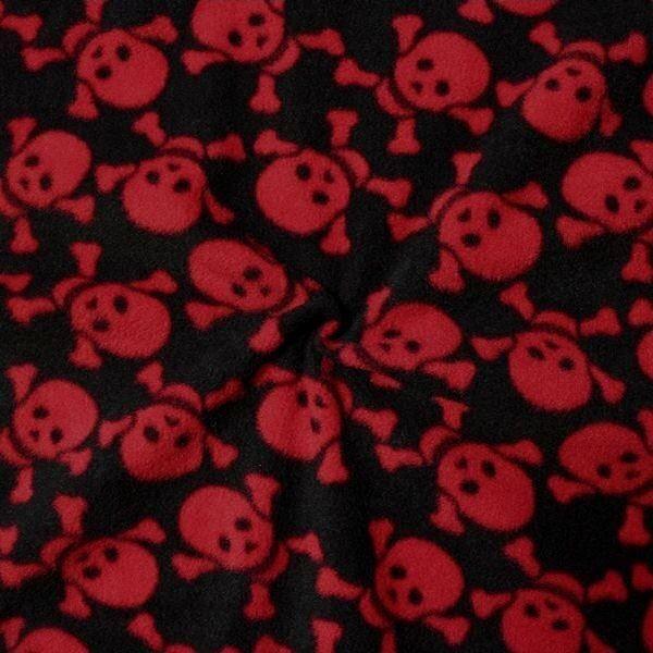 """Polar Fleece antipilling """"Skulls 4"""" Farbe Schwarz-Rot"""