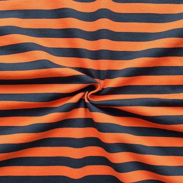 """5,00 Meter Sweatshirt Baumwollstoff """"Streifen Duo"""" Farbe Navy-Blau Orange"""